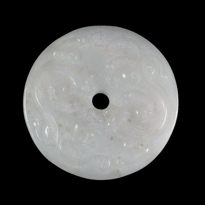 《博古珍藏》和闐白玉浮雕螭龍乳丁紋玉璧.56公克.早期收藏.感恩特賣會.行家勿錯過.超值回饋