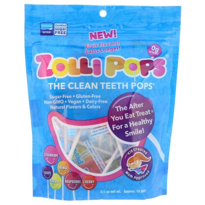 【 Zollipops】清潔牙齒 棒棒糖,草莓、橘子、葡萄、綜合  約15支【 純素系列商品 Vegan 】