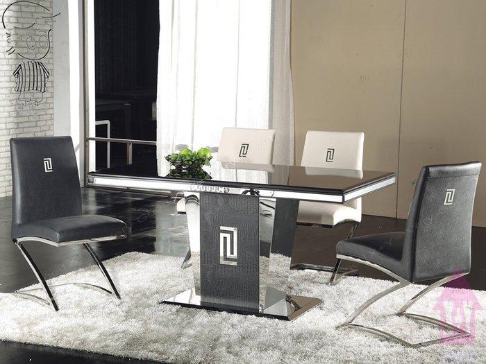 【X+Y時尚精品傢俱】現代餐桌椅系列-馬汀尼 5尺黑晶石面餐桌.不含餐椅.不鏽鋼磨光底座.摩登家具