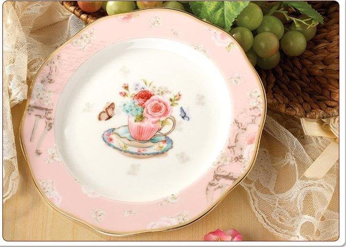 粉紅玫瑰精品屋~千蝶戀8吋骨瓷點心盤~粉