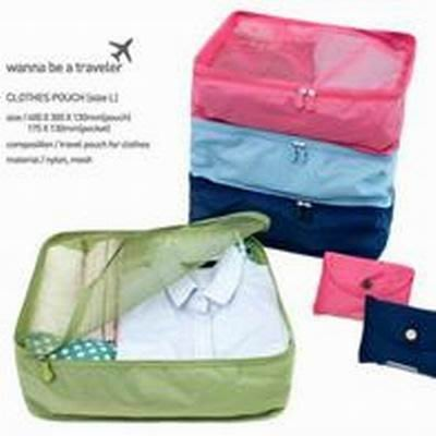 【旅行收納袋-L碼-40*30*13cm-2個/組】軟尼龍 可折疊收納 衣服收納袋子-76002