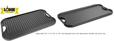 美國原裝Lodge LPG13 Reversible Griddle/Grill Pan雙面長方型牛排鍋/平底煎盤/烤盤