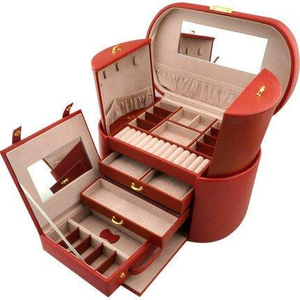 諠諠小舖~首飾收納盒皮質帶鎖珠寶收納盒