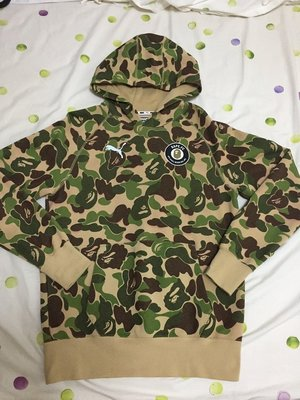 【二手美品】A Bathing APE BAPE PUMA 聯名款 帽T 綠彩【S 號】