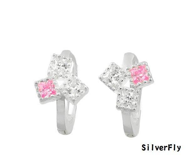 白粉鑽純銀易扣耳環《 SilverFly銀火蟲銀飾 》