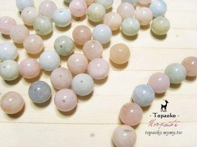 《晶格格的多寶格》串珠材料˙天然石配件 天然色摩根石/綠柱石圓珠一份(混色40P)【F8384-1】10mm