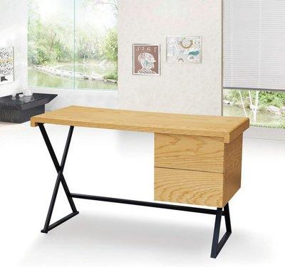 【龍來傢俱】17D-狀元4尺栓木本色黑鐵腳二抽電腦書桌~