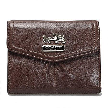 COACH 短夾 中夾 100%保證正品附發票特價錢包 零錢包聖誕節禮物 全皮 立體馬車 咖啡色