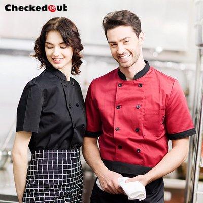 解憂zakka~廚師服短袖雙排扣男女西餐廳廚房服裝工裝制服廚衣廚師工作服夏裝