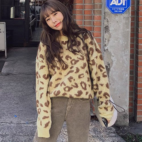i-Mini 韓國代購~時尚斑紋圓領羊毛針織上衣3色‧正韓連線‧空運【B11283776DU】