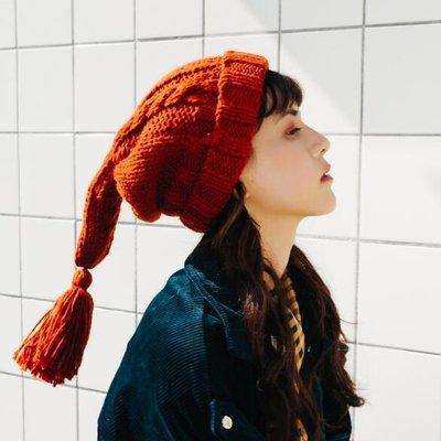 毛帽 韓國少女流蘇辮子毛線帽子 可愛韓版針織帽保暖精靈帽潮—莎芭