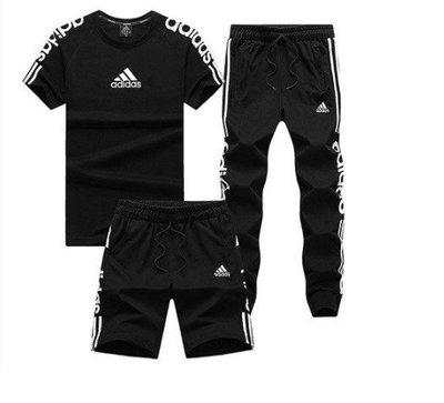 夏季adidas愛迪達斯運動套裝男士透氣短袖T恤長褲休閑跑步服短褲七分褲 三件套