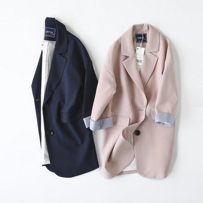 韓國風 修身中長款西裝外套 素色百搭顯瘦西服風衣 外套—莎芭