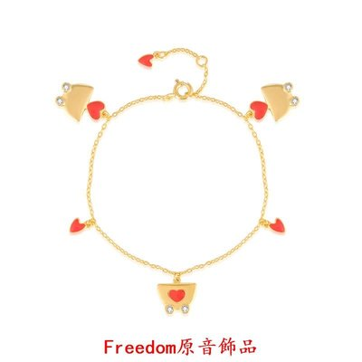 Freedom`原音飾品Jelly Girl 925銀鍍金愛心車子吊墜手錬 原創設計師純銀小手錬