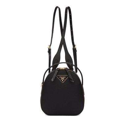 [全新真品代購-SALE!] PRADA 黑色 防刮皮革 Odette mini 後背包