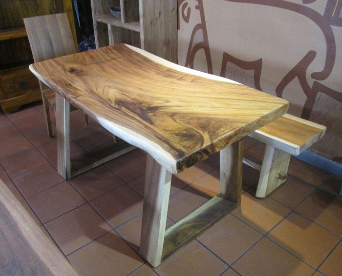 【肯萊柚木傢俱館】印尼100% 雨豆木 桌面整塊 全實木 耐重 餐桌 書桌 工作桌 民宿 店面 實用美觀