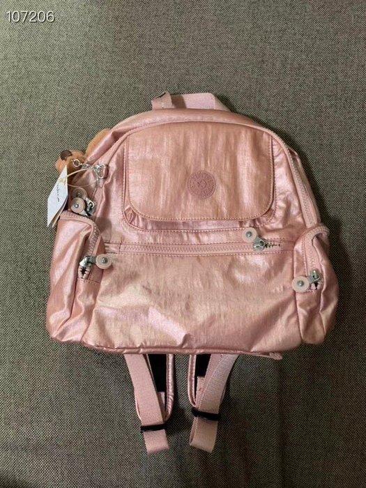 凱莉代購 Kipling 猴子包 BP4047 新玫瑰金 拉鍊多夾層輕量雙肩後背包 兩側拉鍊袋 防水 小款 限量 預購