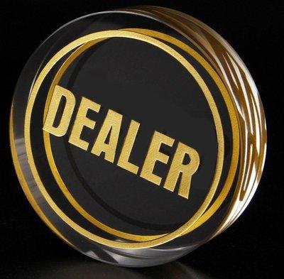 Dealer 牌 鈕扣 button 水晶透明 壓牌 莊碼 德州撲克 使用