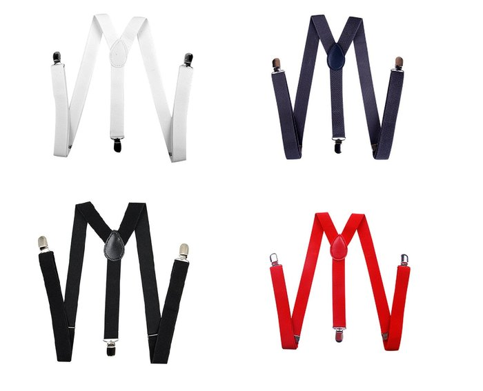 【幸福2次方】男女通用 高質感西裝吊帶 韓版彈性夾背帶 可調節吊帶 寬2.5cm - 多色可選