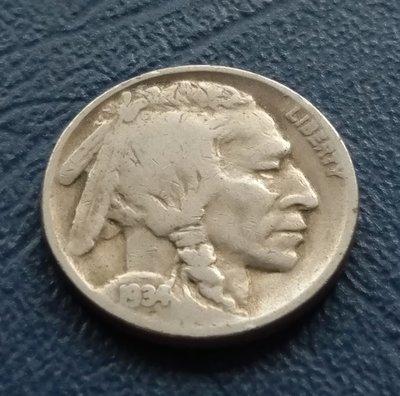 美國   印地安    5分   1934    鎳幣  水牛  野牛     280-315