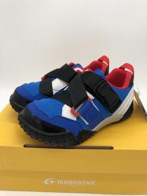 《日本Moonstar》玩耍速乾 腳踏車鞋系列 2E寬楦 防撥水款-藍(14.0-19.0cm)C2215519FW