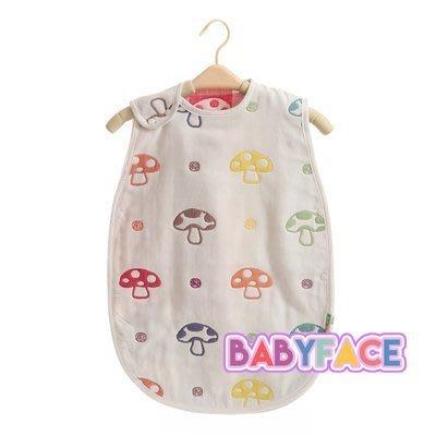 BabyFace【六層紗】紗布料蘑菇睡袋防踢背心孩童防踢保暖日本品質XL適2~7歲(45*80CM)