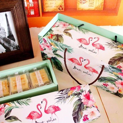 (盒+袋)火烈鳥禮盒組 80g包裝盒 曲奇餅乾 和菓子 蛋黃酥 鳳梨酥 馬卡龍 中秋節 手工皂 巧克力 牛軋糖 紅鶴