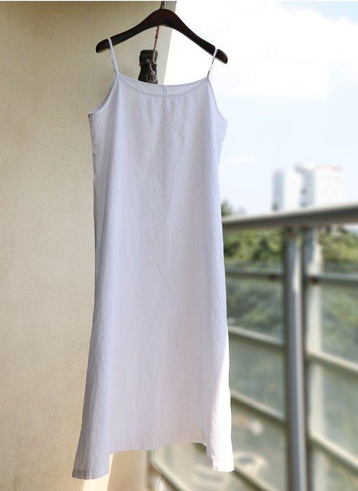 【子芸芳】精梳純棉布內搭白色吊帶連衣裙 襯裙