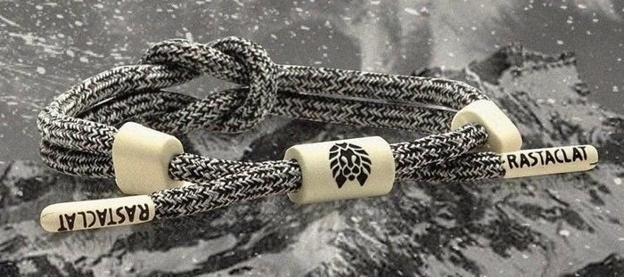 RASTACLATR潮牌編織手環灰黑米白釦…亞麻霧面結繩