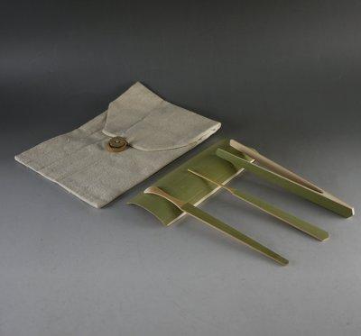 保青 素面 4件雕刻套竹-茶荷 . 茶針. 茶夾. 茶拔 --- 茶道茶具 配件 B205