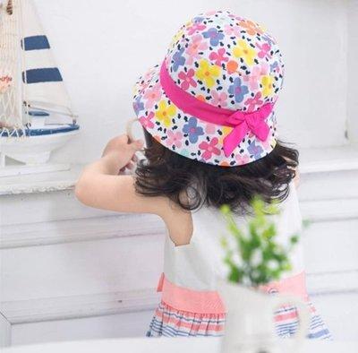 春夏女童手繪花朵配色蝴蝶結漁夫帽遮陽帽