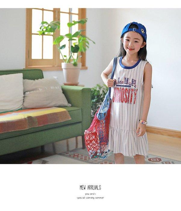 ~草莓花園~ ~65 女童 休閒童裙 字母印花條紋裙拼接螺紋童裙中大童裙 親子套裝小碼女裝