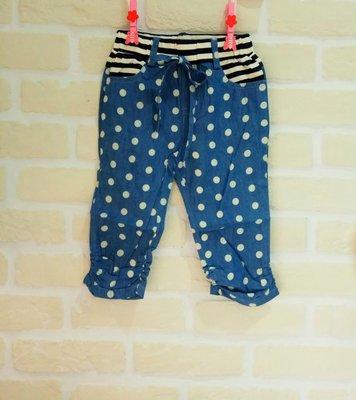 (現貨100~140cm)童夏季仿牛仔點點七分褲