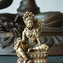 【五輪塔】佛教文物,銅鎏金精雕小佛像『卍綠度母卍』H64,W38(mm)
