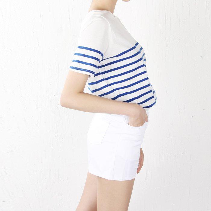 最後不多!Girlmonster韓國連線 正韓 清新感 半橫條短袖棉T 短袖上衣 (藍條紋/黑條紋) 【T102038】