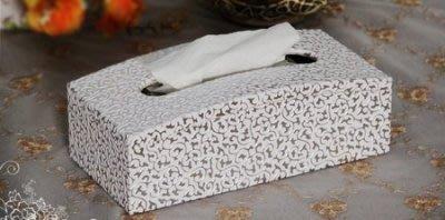 【易發生活館】素雅銀花面紙盒抽紙盒創意時尚木皮革車用別致弧形家居 高貴素雅 品味時尚