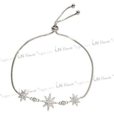 IN House*🇹🇼現貨 風靡歐美日韓 雪花 星星 八芒星 造型 鑲水鑽 可調式 手鍊 秀氣手鏈 手環