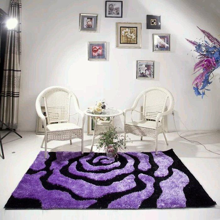 粉紅玫瑰精品屋~高檔紫色玫瑰客廳地毯 床邊毯~160*230公分