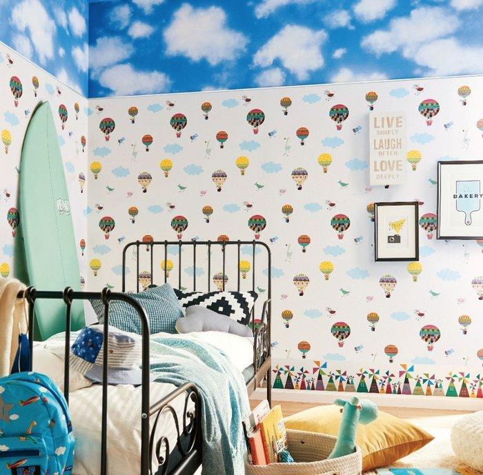 【Uluru】日本進口壁紙 熱氣球 壁紙 小孩房 兒童房壁紙 北歐風格 日本製