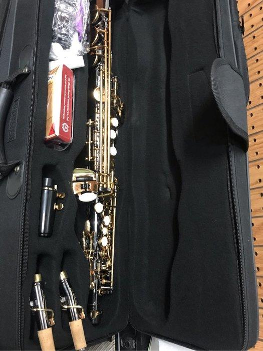 筌曜樂器 全新 麥格維特 高音 直管 SAX 黑金鋼  薩克斯風套組(頂級金身雕花.保固一年) 特惠價