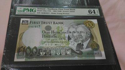 北愛爾蘭(Ireland-Northern), 100磅, 1994年, UNC全新, 鑑定紙鈔!!