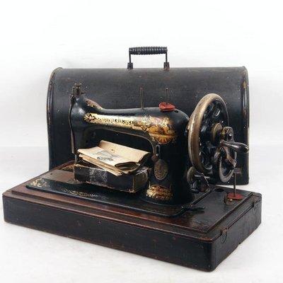 百寶軒 1897年英國古董勝家singer手搖縫紉機配件全7品帶箱 ZG2523