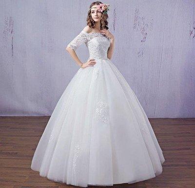 哆啦本鋪 春夏季唯美婚紗禮服 新娘一字肩蕾絲公主齊地顯瘦綁帶韓式婚紗D655