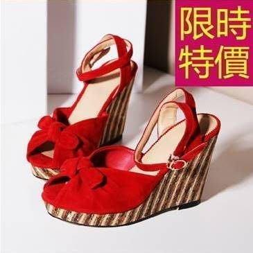 坡跟水鑽涼鞋-極簡甜美夏季休閒女鞋子1色55l50[韓國進口][米蘭精品]