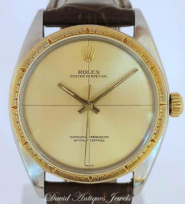 ((天堂鳥)) ROLEX 勞力士ZEPHYR 微風1560機芯1008型號14K半金機械自動男錶|附原購買證