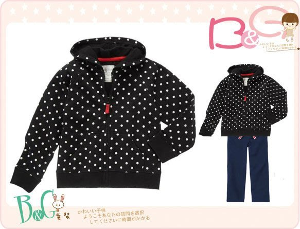 【B& G童裝】正品美國進口GYMBOREE 點點圖樣黑色內軟刷毛長袖連帽外套XS號3-4yrs