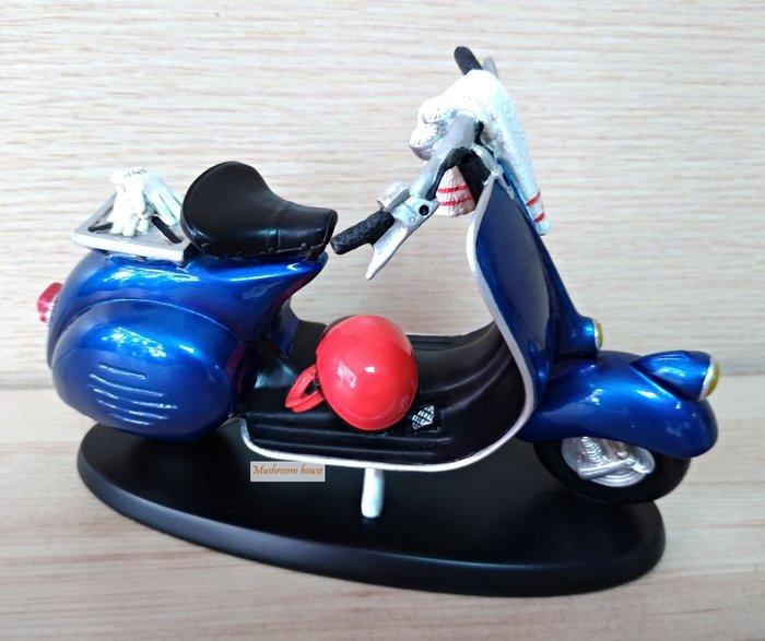 點點蘑菇屋 歐洲精品復古藍色古典單座墊機車擺飾 速可達 偉士牌機車 安全帽 摩托車模型 現貨