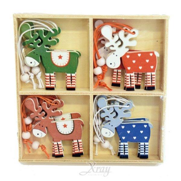 節慶王【X002012】木製麋鹿吊飾,聖誕節/掛飾/木製品/手作/吊飾/裝飾/擺飾/交換禮物/道具