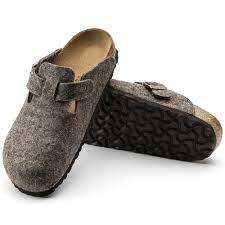 德國正品 【 BIRKENSTOCK 勃肯】 波士頓系列羊毛氈半包便鞋(寬版)-可可棕/灰色