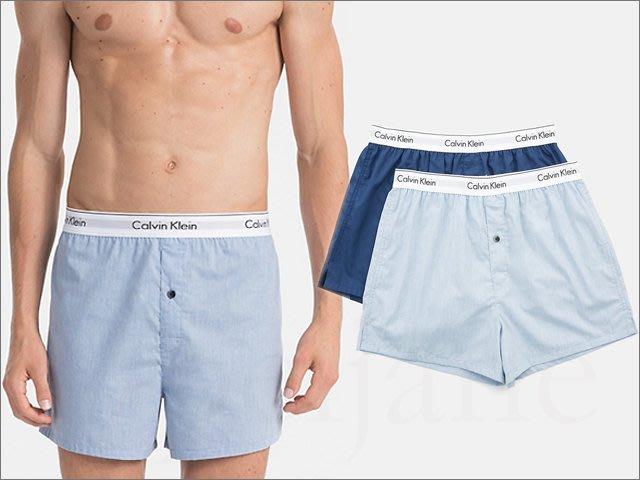 Calvin Klein CK 男內著 卡文克萊淺藍深藍色純棉寬鬆四角褲平口褲內褲 兩件一組M號 L號 愛Coach包包